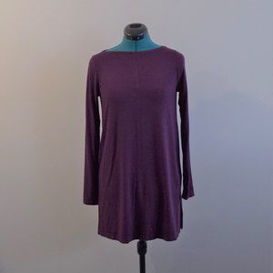 Burgundy Wine Long Sleeve Tunic Shirt
